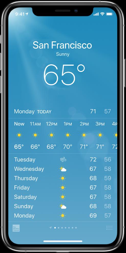 """""""Weather"""" ekranas, kuriame rodomas miestas, dabartinės sąlygos ir temperatūra. Žemiau yra dabartinė valandinė orų prognozė ir 5 artimiausių dienų orų prognozė. Apačioje viduryje esanti taškų eilutė rodo informaciją, kiek miestų turite."""