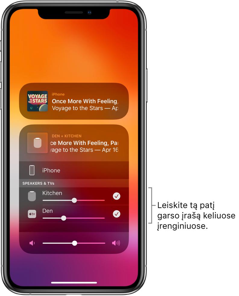 """""""iPhone"""" ekrane rodomi """"HomePod"""" ir """"AppleTV"""" kaip pasirinktos garso paskirties vietos."""