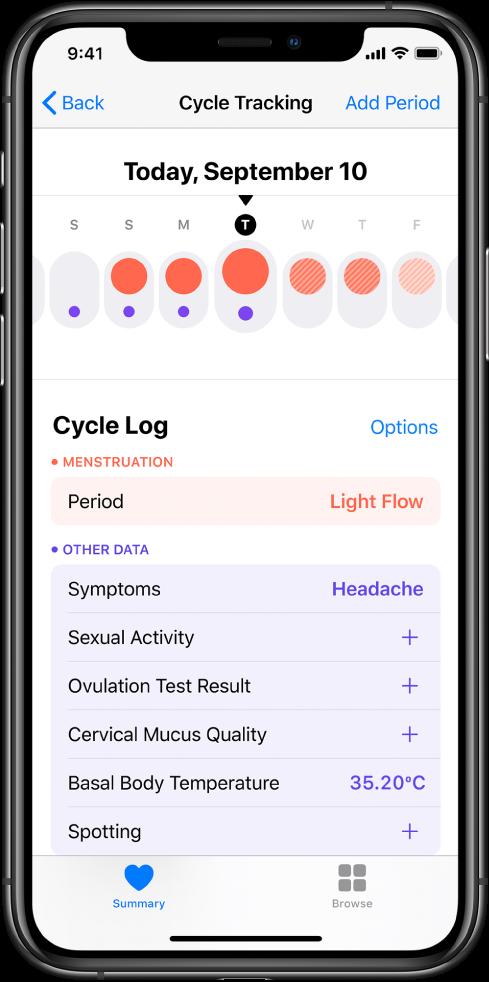 Health အက်ပ်ရှိ Cycle Tracking ဖန်သားပြင်။