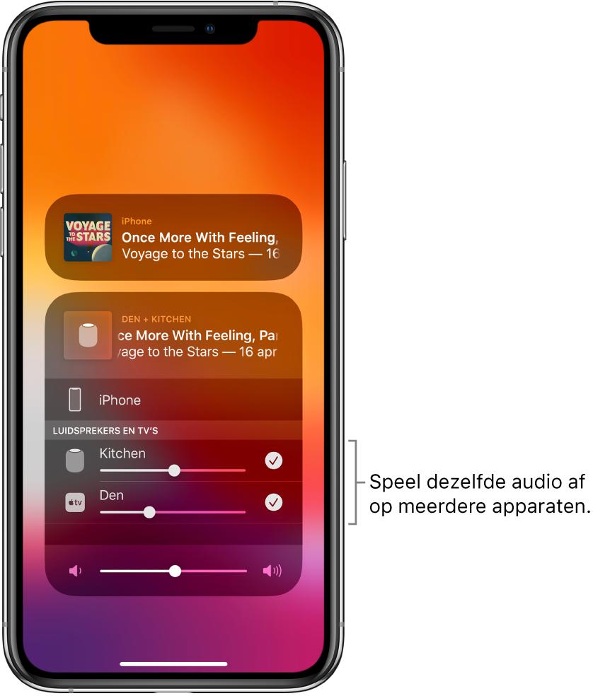 Het iPhone-scherm met de HomePod en AppleTV geselecteerd als audiobestemming.