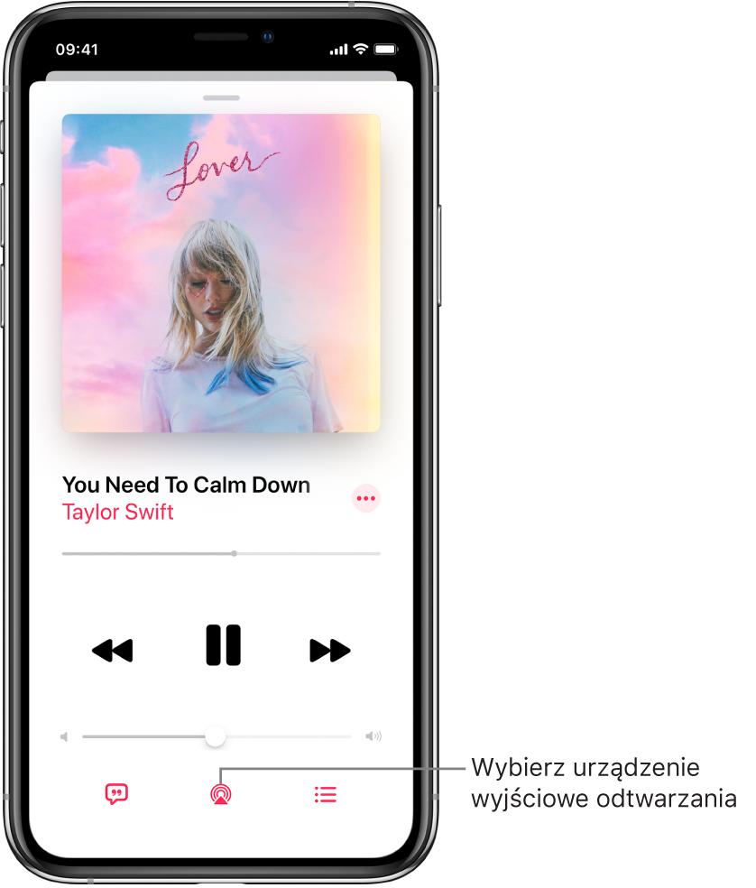 Narzędzia odtwarzania na ekranie Odtwarzane waplikacji Muzyka, wtym widoczny na dole ekranu przycisk urządzenia wyjściowego odtwarzania.