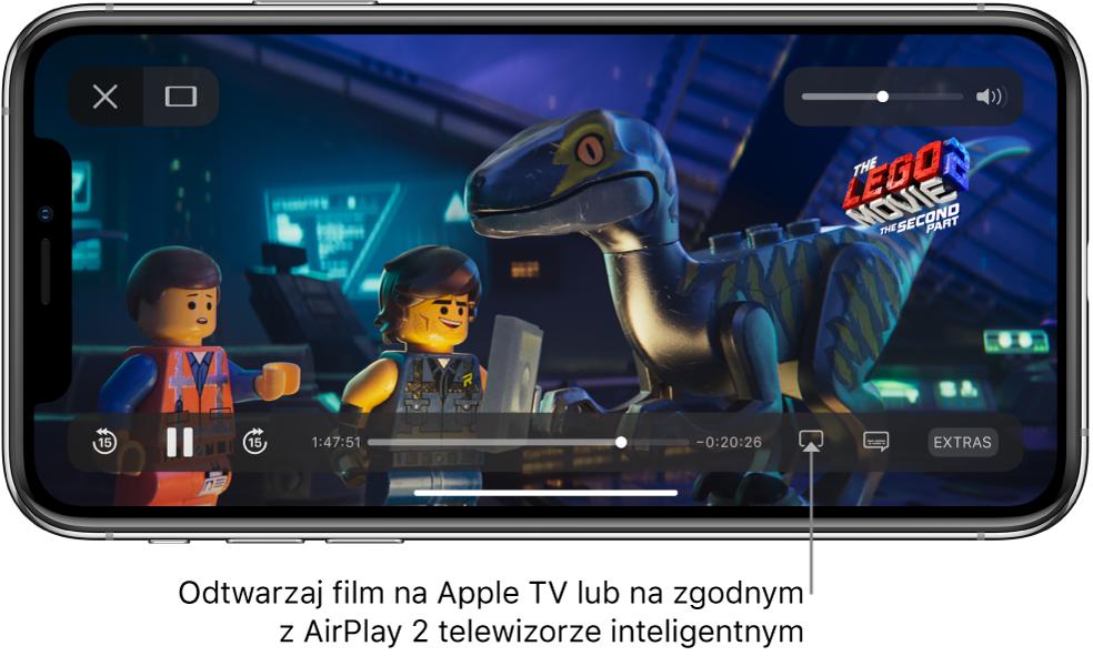 Film odtwarzany na ekranie iPhone'a. Na dole ekranu widoczne są narzędzia odtwarzania, wtym również przycisk klonowania ekranu, znajdujący się wprawym dolnym rogu.