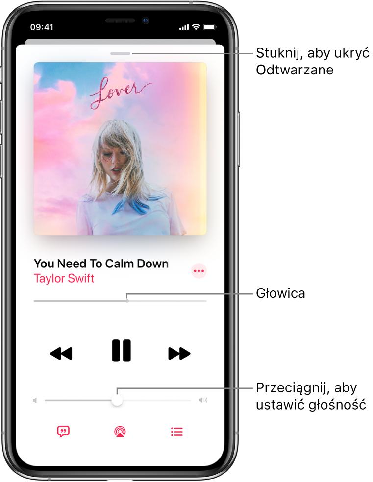 Ekran Odtwarzane, zawierający grafikę albumu. Poniżej znajduje się tytuł utworu, nazwa wykonawcy, przycisk Więcej, głowica, narzędzia odtwarzania, suwak głośności, przycisk słów utworu, przycisk urządzenia wyjściowego odtwarzania oraz przycisk kolejki Następne. Przycisk ukrywania ekranu Odtwarzane znajduje się ugóry ekranu.
