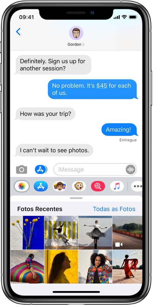 Conversa no app Mensagens, mostrando o app Fotos do iMessage abaixo. O apps Fotos do iMessage mostra, a partir da parte superior esquerda, os links para Fotos Recentes e Todas as Fotos. Abaixo desses, as fotos recentes, todas as quais podem ser visualizadas ao passar o dedo à esquerda.