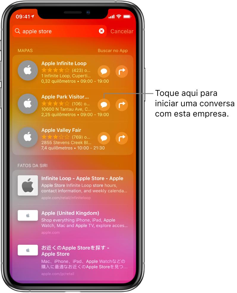 Tela Buscar mostrando itens encontrados para Apple Store na App Store, Mapas e Sites. Cada item mostra uma breve descrição, classificação ou endereço, e cada site mostra um URL. O primeiro item mostra um botão que pode ser tocado para iniciar um bate-papo de negócios com a Apple Store.