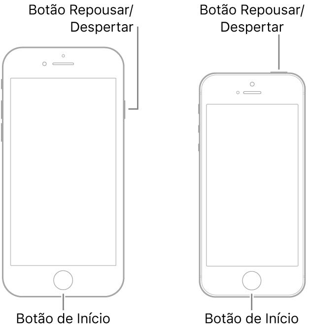 Ilustrações de dois modelos de modelos de iPhone com as telas viradas para cima. Ambos têm o botão de Início próximo à parte inferior do dispositivo. O modelo mais à esquerda tem o botão Repousar/Despertar próximo à parte superior, na borda direita do dispositivo, enquanto o modelo mais à direita tem o botão Repousar/Despertar próximo à borda direita, na parte superior do dispositivo.