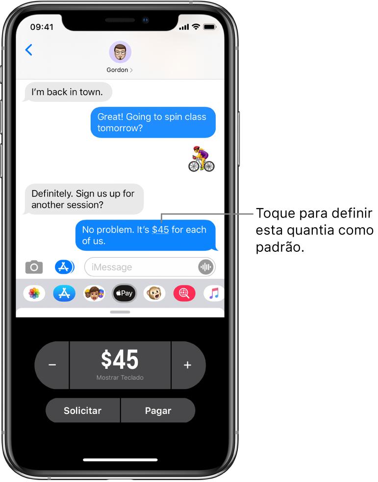 Conversa do iMessage com o app Apple Pay aberto na parte inferior.