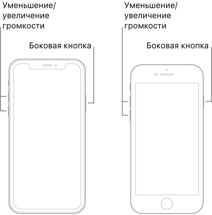 Иллюстрации двух моделей iPhone, расположенных экраном вперед. На модели слева нет кнопки «Домой», а на модели справа кнопка «Домой» расположена в нижней части экрана. На обоих моделях кнопки уменьшения и увеличения громкости расположены на левом боку устройства, а боковая кнопка— на правом.