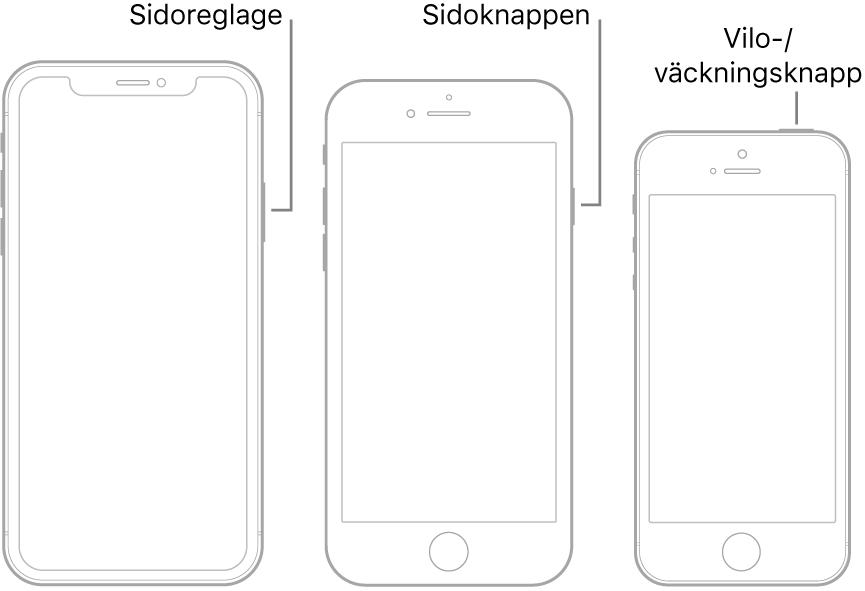 Sidoknappen eller vilo-/väckningsknappen på tre olika iPhone-modeller.