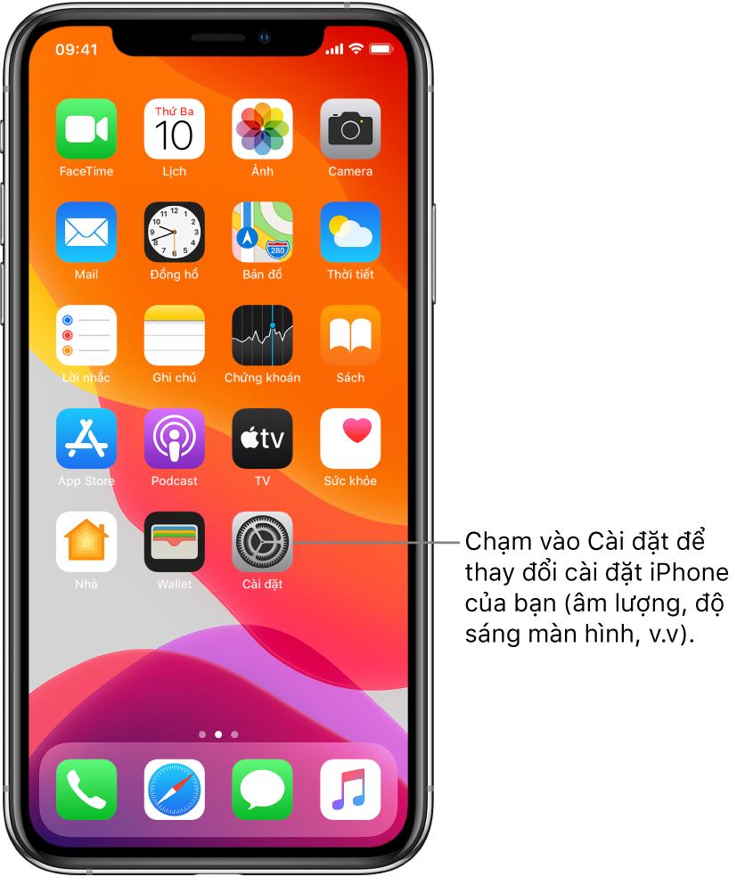 Màn hình chính với một vài biểu tượng, bao gồm biểu tượng Cài đặt mà bạn có thể chạm để thay đổi âm lượng âm thanh, độ sáng màn hình, v.v của iPhone.