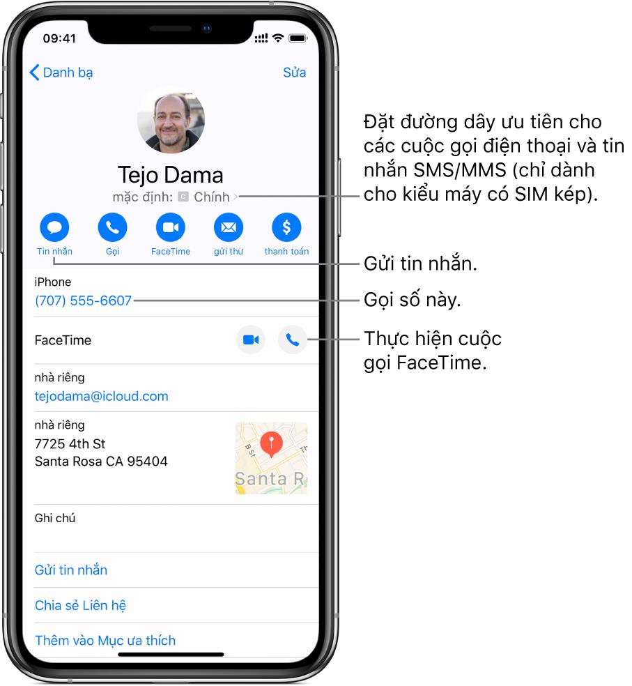 Màn hình thông tin cho một liên hệ. Ở trên cùng là ảnh và tên của liên hệ. Bên dưới là các nút để gửi tin nhắn, thực hiện cuộc gọi điện thoại, thực hiện cuộc gọi FaceTime, gửi email và gửi tiền bằng Apple Pay. Bên dưới các nút là thông tin liên hệ.