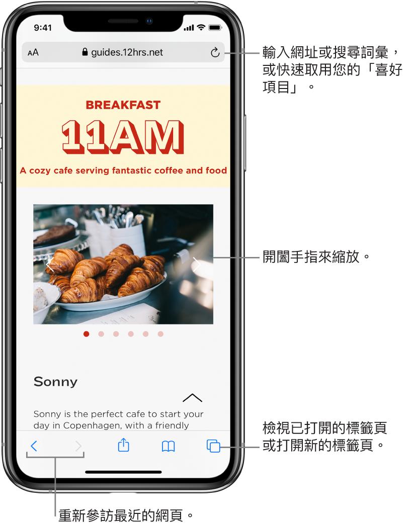 Safari 視窗中打開網站,網址欄位在最上方。底部由左至右依序為「往後」、「往前」、「分享」、「書籤」和「頁面」按鈕。