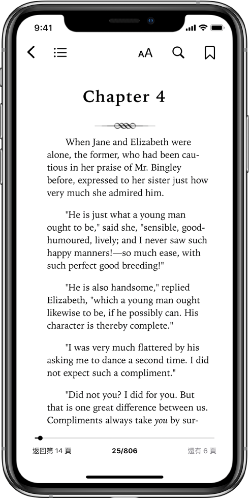 書籍頁面在「書籍」App 中打開,螢幕最上方從左到右為闔上書籍、檢視目錄、更改文字、搜尋和加上書籤的按鈕。螢幕底部有個滑桿。