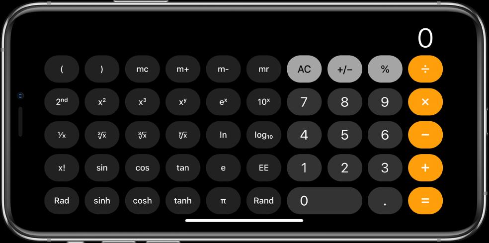 横排方向的 iPhone 显示科学计算器,带有指数、对数和三角函数功能。