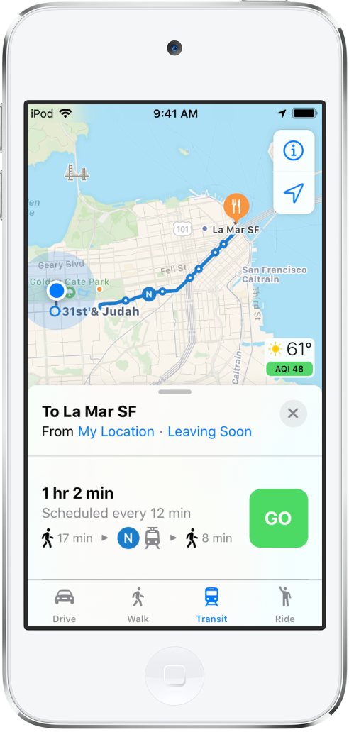 A map showing a transit route across San Francisco. The route card at the bottom of the screen includes a Go button.