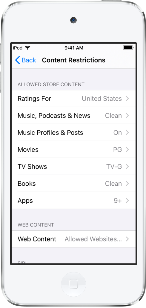 The Content Restrictions screen of Screen Time. The setting options are listed from top to bottom of the screen and show that the ratings are set for the United States. Music, Podcasts and News is set to clean, Movies is set to PG, TV Shows is set to TV-G, Books is set to Clean, and Apps is set to nine plus.