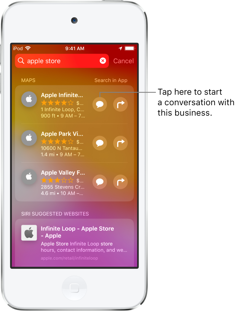 The Search screen showing found items for Apple Store in Maps, App Store, and Websites. Each item shows a brief description, rating, or address. The first item shows a button to tap to start a business chat with the Apple Store.