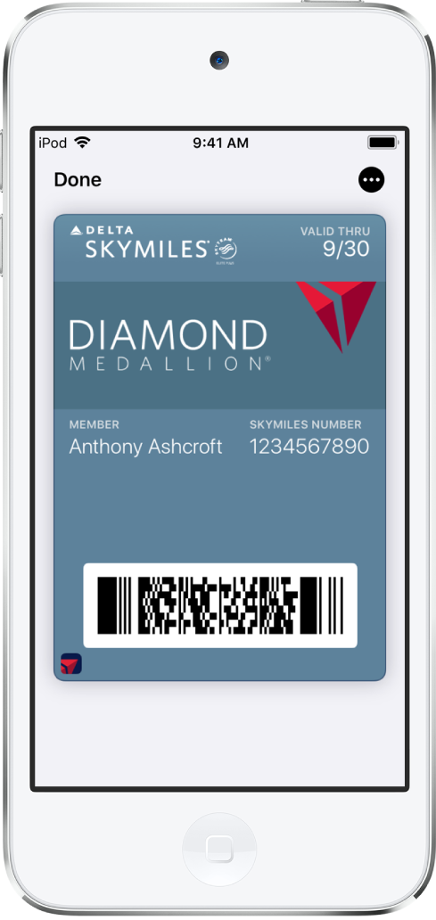 A boarding pass in Wallet showing flight information and the QR code at the bottom.