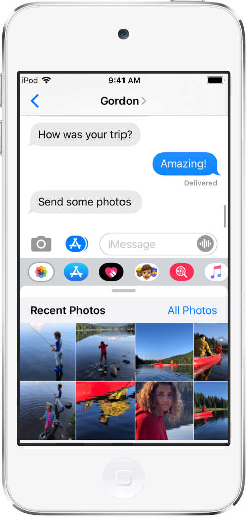 A Messages conversation, showing the iMessage Photos app below it. The iMessage Photos app shows, from the top left, the links to Recent Photos and All Photos. Below that are the recent photos, all of which can be viewed by swiping left.