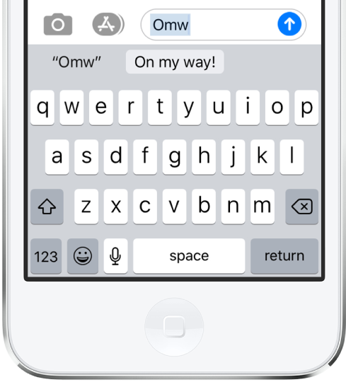 """A message with the text shortcut OMW typed and """"On my way!"""" suggested below as replacement text."""