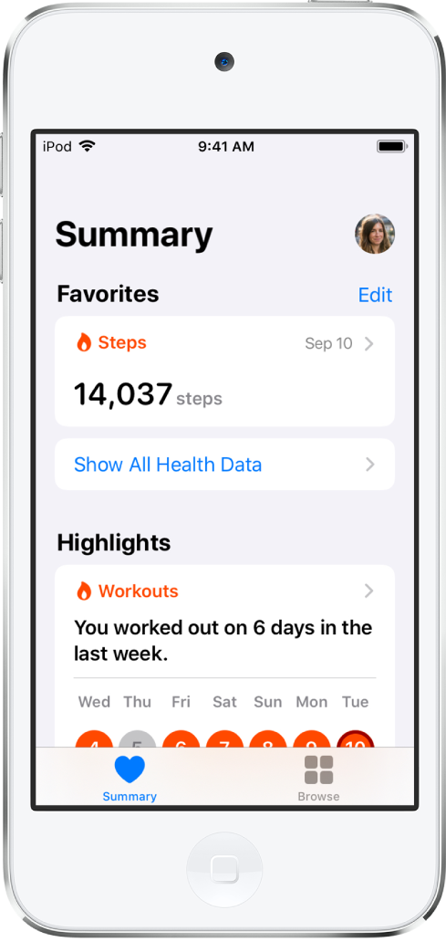 A Summary screen showing the number of steps taken on September 10 under Favorites and the number of workouts for the previous week under Highlights.