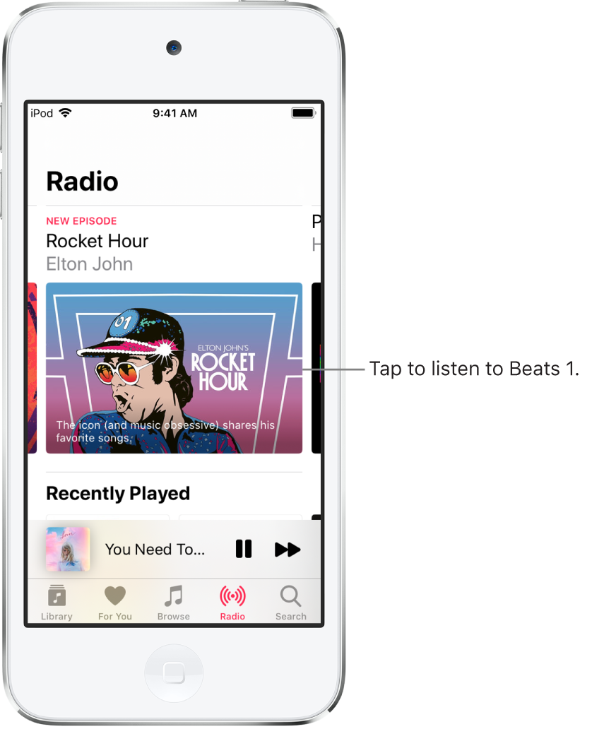 The Radio screen showing Beats1 Radio at the top. Beats1 and Radio Stations entries appear below.