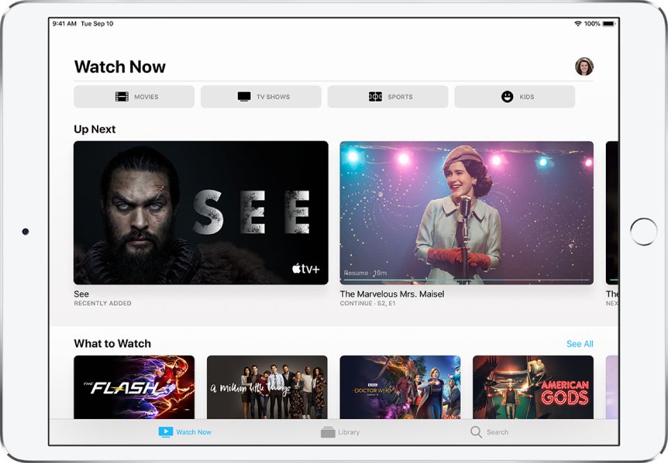 The Watch Now screen showing buttons for Movies, TV Shows, Sports, and Kids in the top row. The Up Next row is in the center, above the What to Watch row. At the bottom, from left to right, are the Watch Now, Library, and Search tabs.