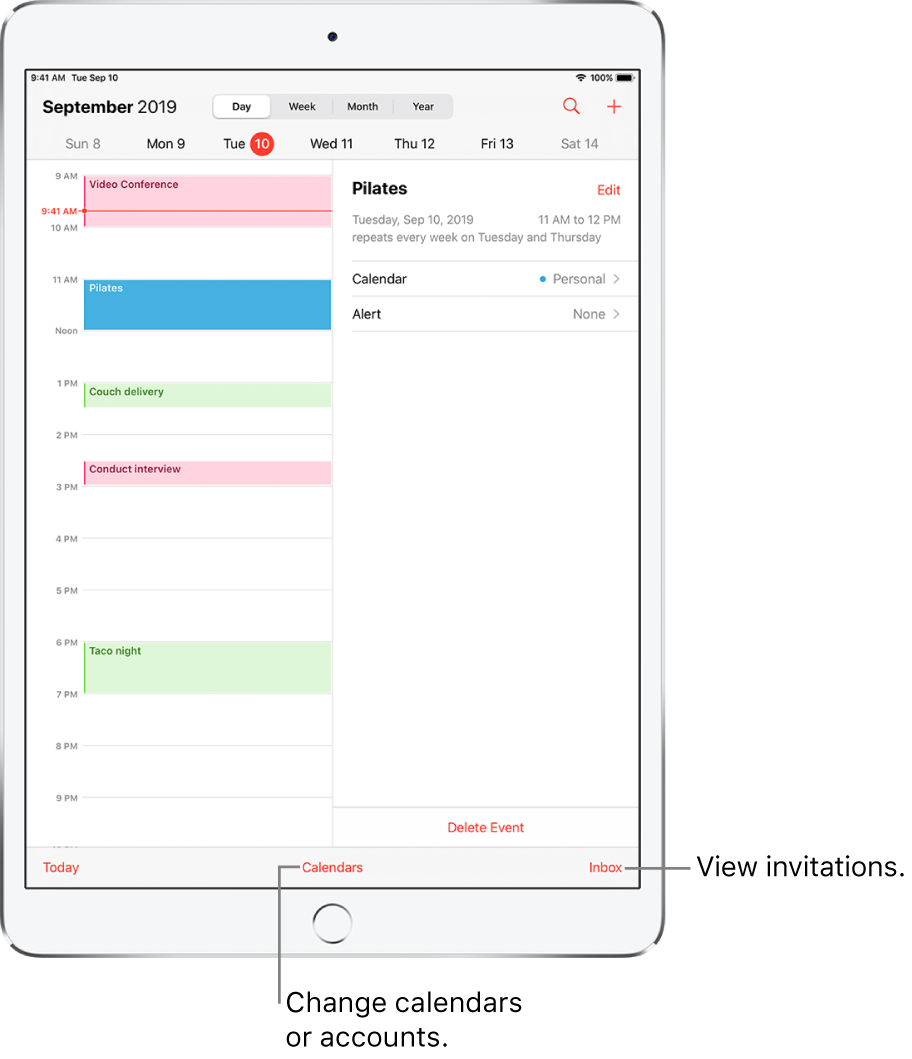 A calendar in day view. Tap the buttons at the top to change the view between Day, Week, Month, and Year. Tap the Calendars button at the bottom to change calendars or accounts. Tap the Inbox button, located at the bottom right, to view invitations.