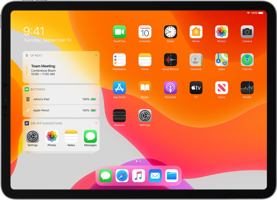 The iPad Home screen in landscape orientation. On the left side of the screen, from top to bottom, are the Calendar, Batteries, and Siri App Suggestions widgets. The Batteries widget shows the iPad and Apple Pencil battery at 100%.