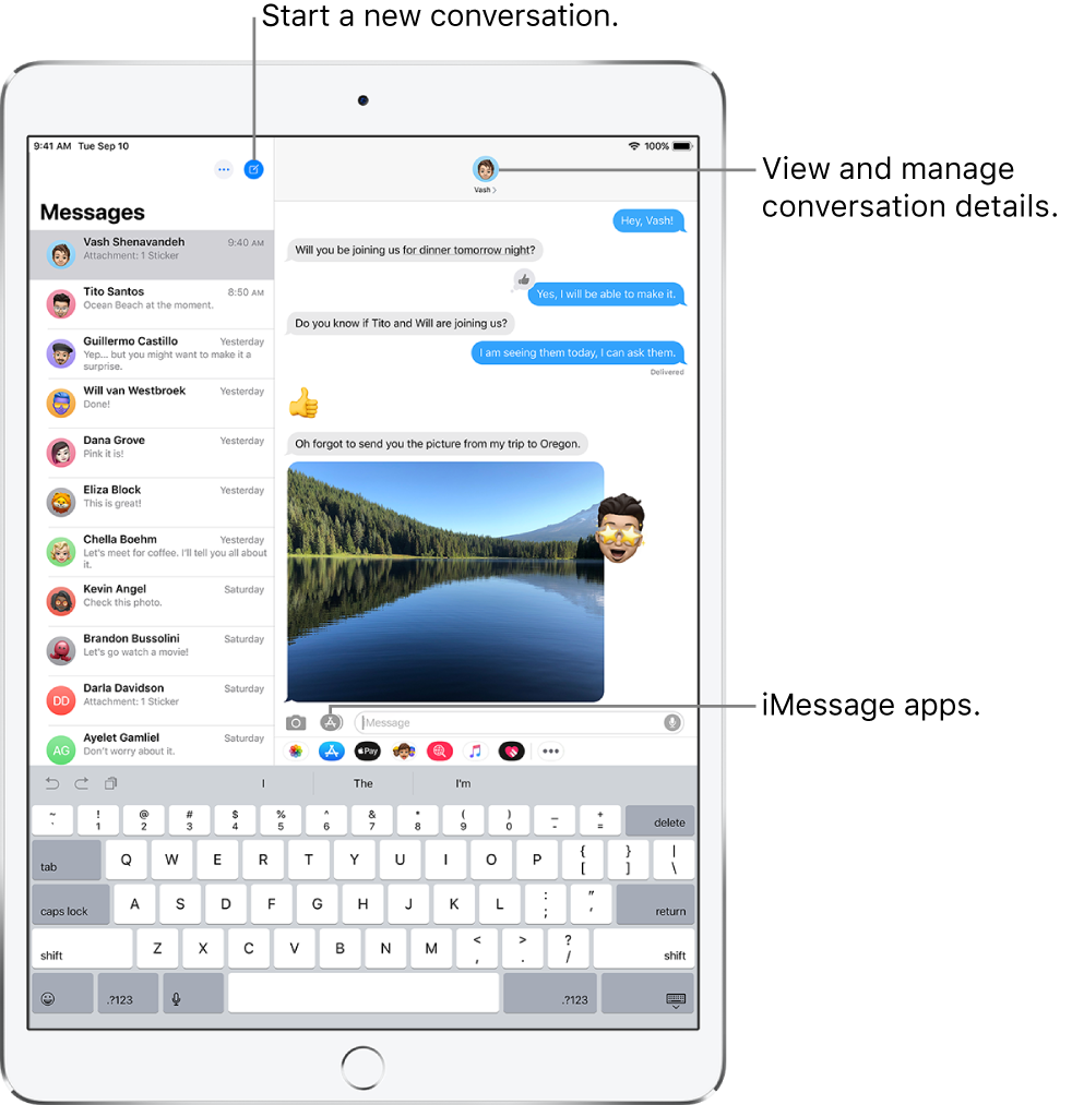 The Messages list on the left and a conversation on the right. At the top of the Messages list, in the left and right corners respectively, are the Edit and Compose buttons. At the top right of the conversation window is the More Info button. Along the bottom of the conversation window, from left to right, are the Attach Media, Digital Touch, and Messaging Apps buttons, the text field, and the Record Audio button.