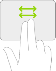 An illustration symbolizing the gestures on a trackpad for scrolling left and right.