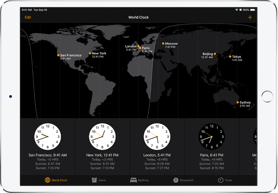The World Clock tab, showing the time in various cities. Tap Edit at the top left to arrange the clocks. Tap the Add button at the top right to add more. Alarm, Bedtime, Stopwatch, and Timer buttons are along the bottom.