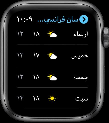 تطبيق الطقس يعرض توقعات الأسبوع.