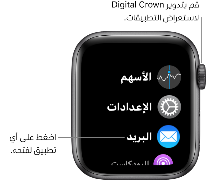 الشاشة الرئيسية في عرض القائمة في AppleWatch، حيث تبدو التطبيقات في قائمة. اضغط على تطبيق لفتحه. مرر لرؤية مزيد من التطبيقات.