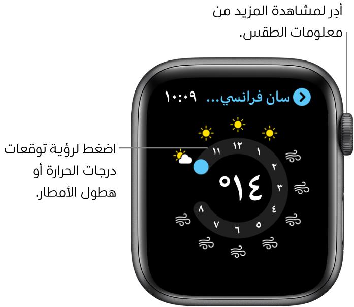 تطبيق الطقس، يعرض توقع على مدار الساعة حول أحوال الطقس.