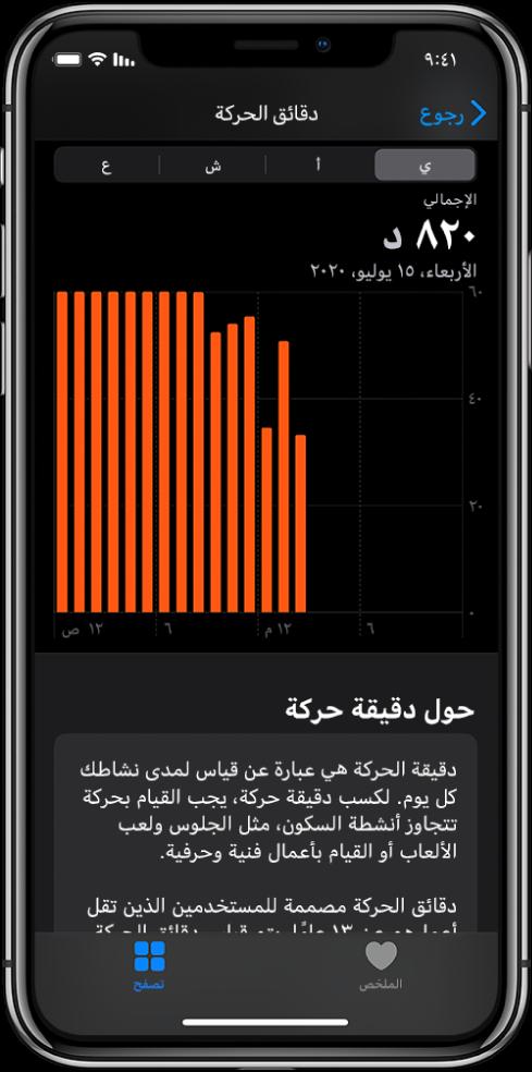 iPhone يعرض تقرير دقائق الحركة. تظهر علامة تبويب الملخص وعلامة تبويب تصفح في الأسفل مع تحديد علامة تبويب تصفح.