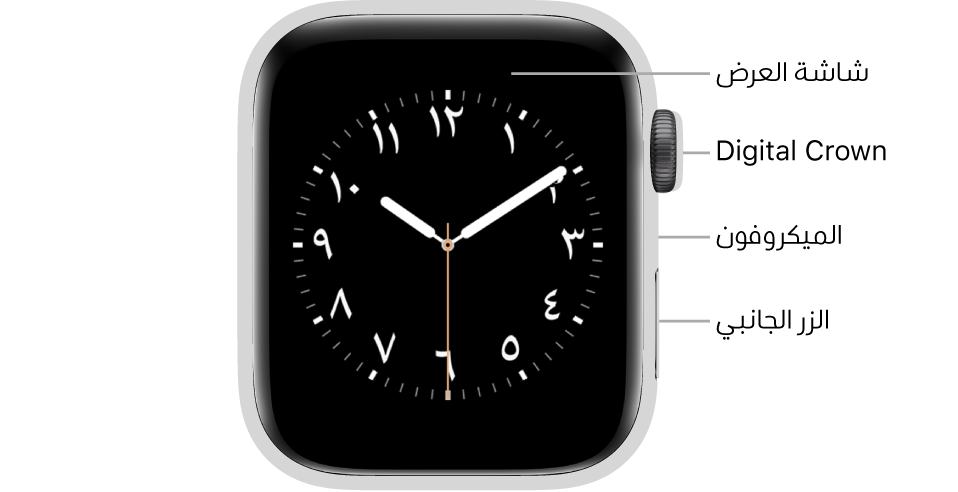 الجزء الأمامي من AppleWatchSeries6 وتظهر به شاشة العرض التي تعرض واجهة الساعة وDigitalCrown والميكروفون والزر الجانبي من أعلى إلى أسفل على جانب الساعة.