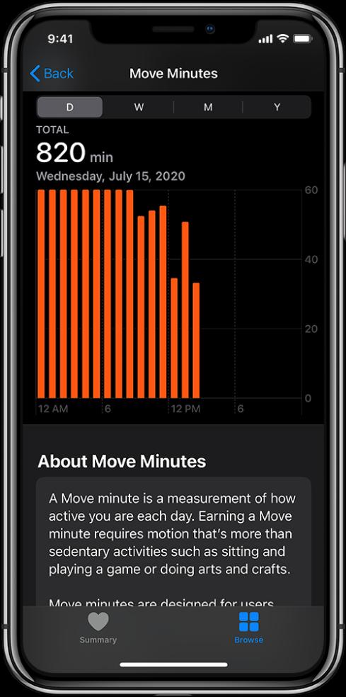 iPhone, показващ отчет Move Minutes (Минути движение). Етикетите Summary (Обобщена информация) и Browse (Преглед) са в долния край, като е избран етикет Browse (Преглед).