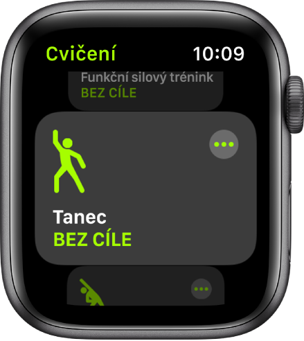 Obrazovka Cvičení se zvýrazněnou kategorií Tanec