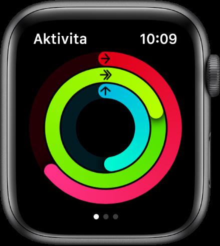 Obrazovka Aktivita zobrazující tři kroužky: Pohyb, Cvičení a Stání.