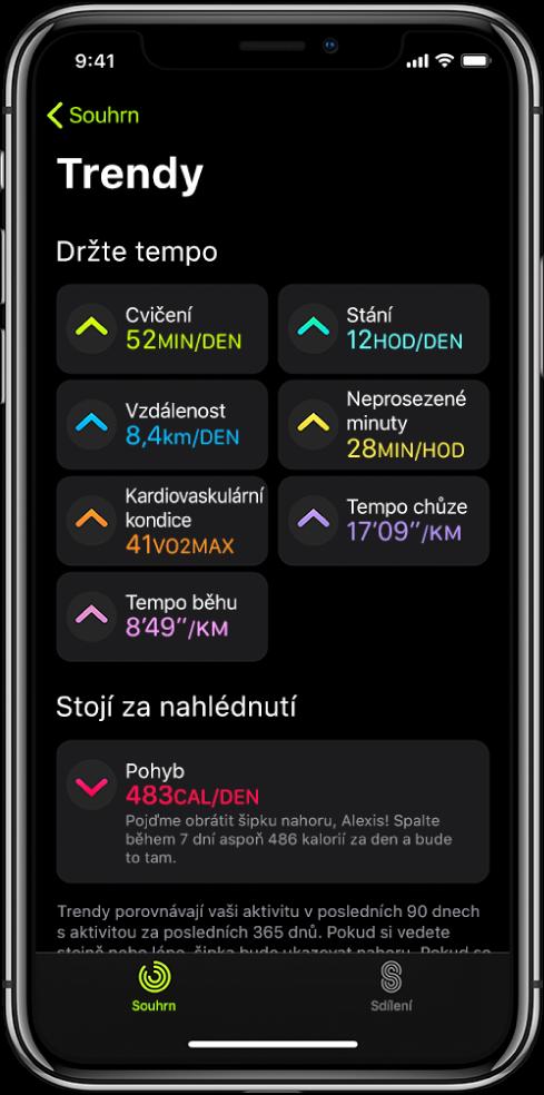 Panel Trendy vaplikaci Kondice na iPhonu. Pod záhlavím Trendy uhorního okraje obrazovky se zobrazuje řada různých údajů, například Cvičení, Stání, Vzdálenost adalší. Pod záhlavím Stojí za nahlédnutí se nachází položka Pohyb.