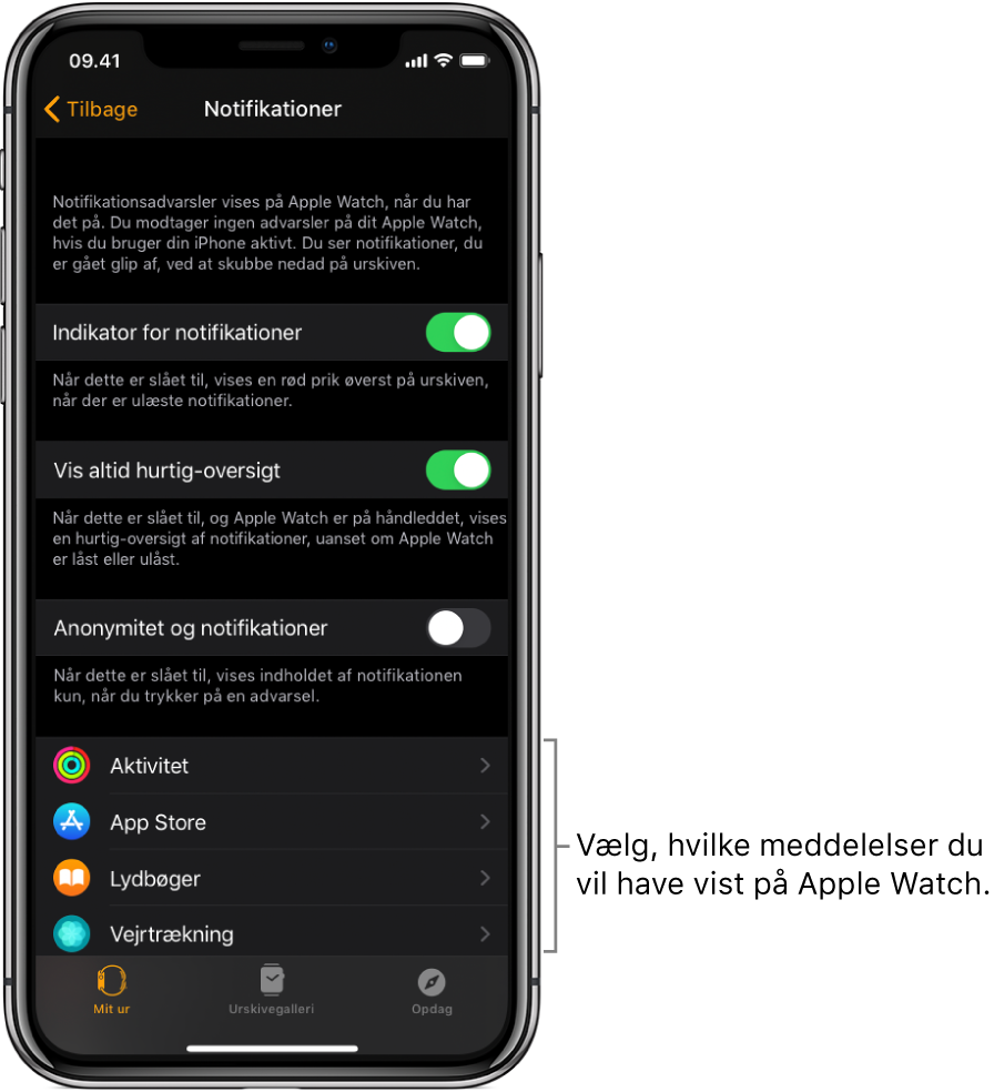 Skærmen Notifikationer i appen AppleWatch på iPhone, som viser kilder til notifikationer.