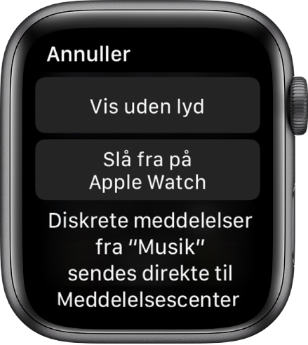 """Notifikationsindstillinger på Apple Watch. Den øverste knap viser """"Lydløs"""", og knappen nedenfor viser """"Slå fra på Apple Watch""""."""