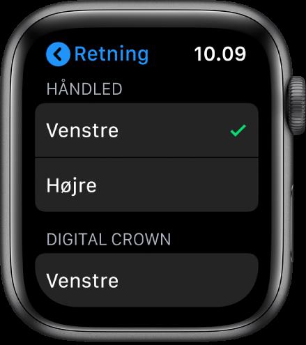 Skærmen Retning på Apple Watch. Du kan indstille retning for håndled og for DigitalCrown.
