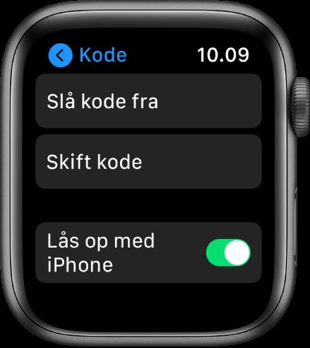 Indstillinger til Adgangskode på Apple Watch med knappen Slå adgangskode fra øverst, knappen Skift adgangskode derunder og knappen Lås op med iPhone nederst.