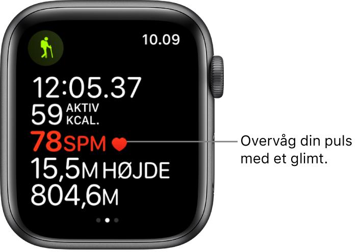 En skærm, der viser træningsstatistik, inklusive forløbet tid og puls.