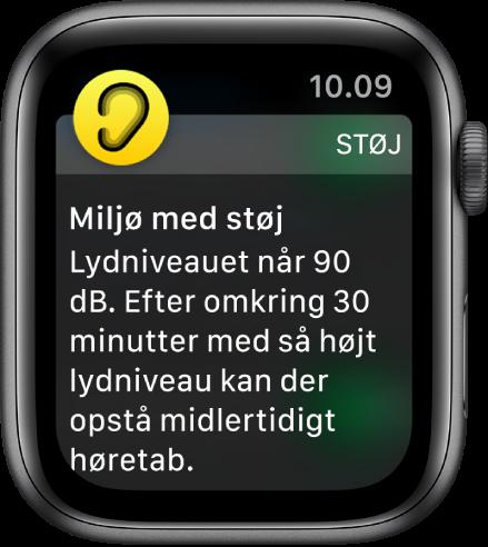 Apple Watch viser en notifikation om Støj. Symbolet for den app, der hører til notifikationen, vises øverst til venstre. Du kan åbne appen ved at trykke på symbolet.