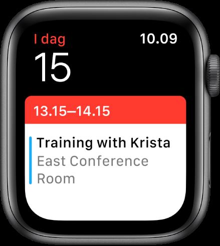 Skærmen Kalender viser oversigten Kø.