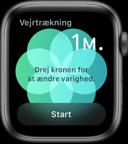 Skærmen med appen Vejrtrækning, der viser en varighed på et minut øverst til højre og knappen Start nederst.