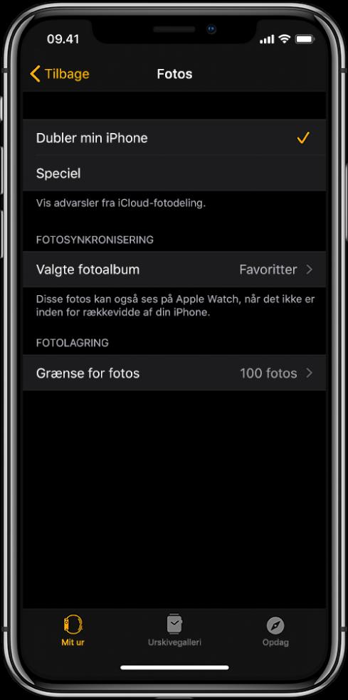 Indstillinger til Fotos i appen Apple Watch på iPhone med indstillingen Fotosynkronisering i midten og indstillingen Grænse for fotos nedenunder.